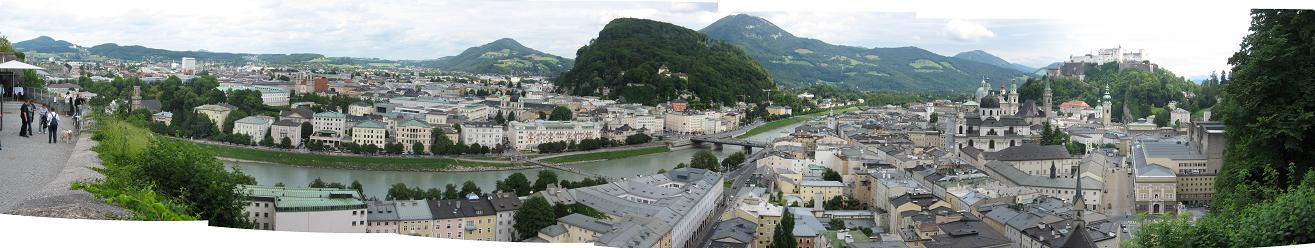 Famous view of Salzburg city.