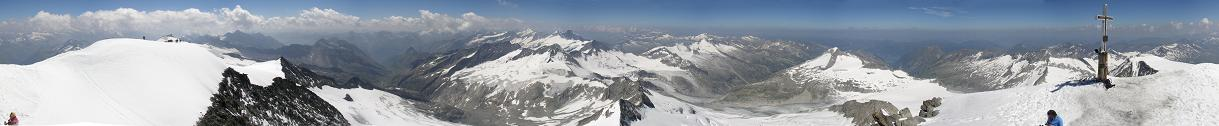 Summit Panorama from Grossvenediger in Austrian Alps.